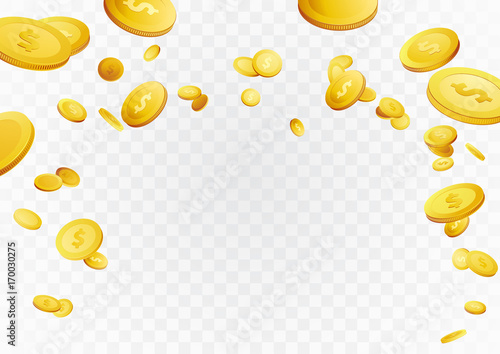 fortune golden dollar coins flying reward background casino cash