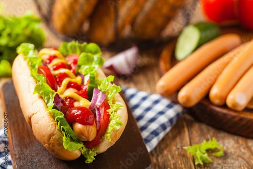 Fotografie, Obraz  Delicious homemade hot dogs.