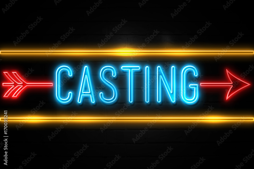 Fototapety, obrazy: Casting  - fluorescent Neon Sign on brickwall Front view