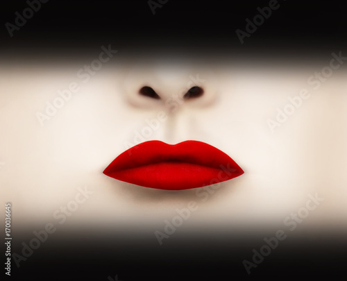 Montage in der Fensternische Surrealismus Red Scarlet Lipstick