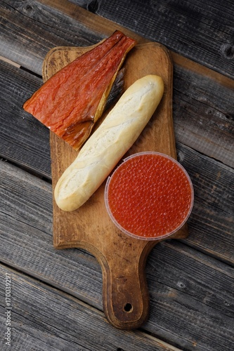 Canvas Prints Herbs 2 Delicious red caviar and fish seafood from Russia