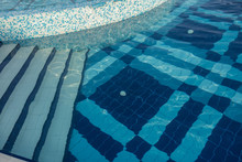 Swimming Pool Bottom With Blue...