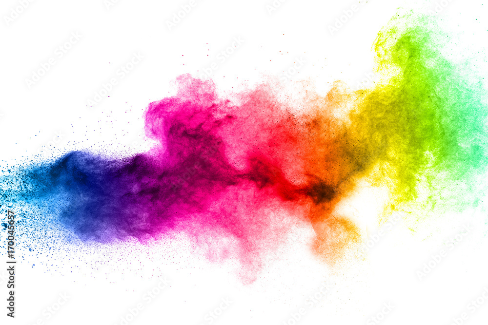 Fototapety, obrazy: Multicolored powder explosion on white background.