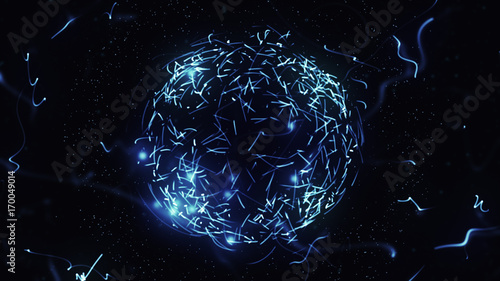 Fotografia, Obraz  Blue sphere in space with glowing particles