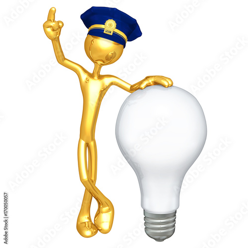 Fényképezés The Original 3D Character Police Officer Illustration With A Light Bulb