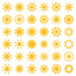 Set of abstract yellow sun icon.