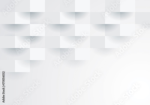 White geometric background.