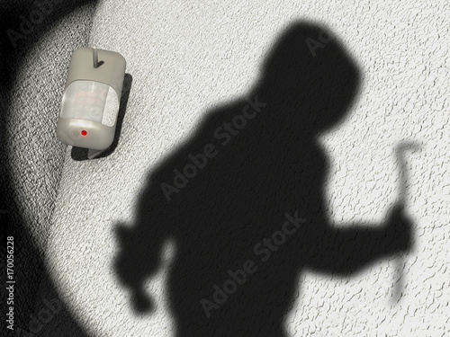 Fotomural  Motion Detector and shadow of a robber in a garden scenario, 3D Illustration