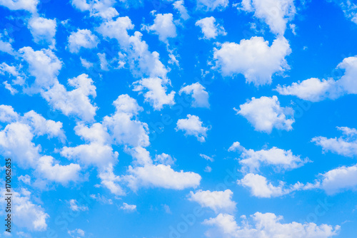 Aluminium Prints Heaven blue sky with white clouds