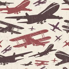 Tapeta Airplane retro seamless template