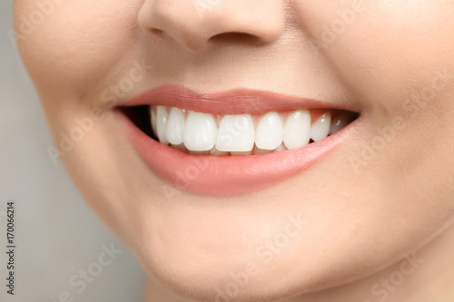 Young woman with healthy teeth, closeup #170066214