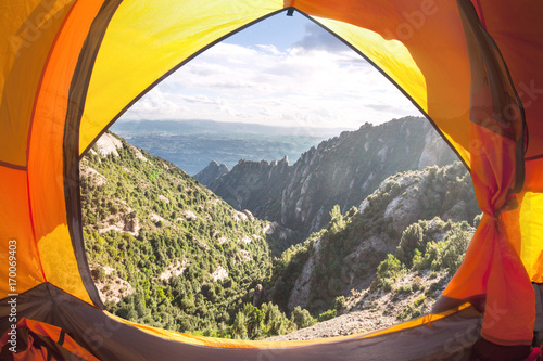 Camping at Montserrat Mountain, Barcelona, Spain Canvas Print