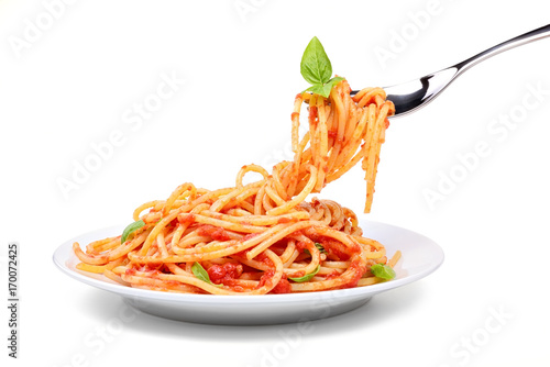 Spaghetti with tomato and basil Fototapeta