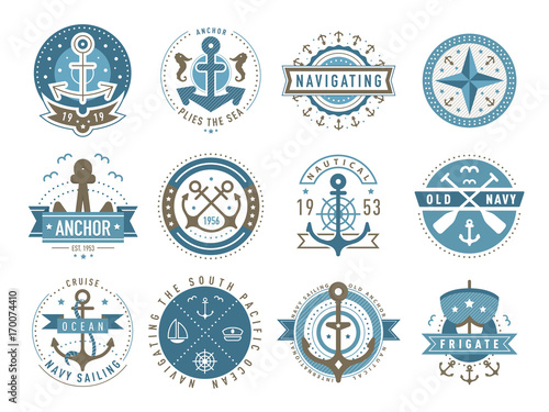Nautical logos templates set  Vector object and icons