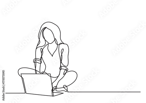 Fotografie, Obraz  continuous line drawing of woman with laptop