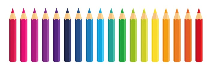 Vector Crayons_colored pencil collection loosely arranged_SET1