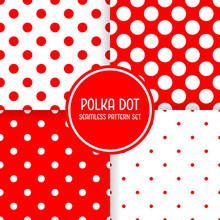 Polka Dot Seamless Pattern Background Set. Red And White Vector Illustration.