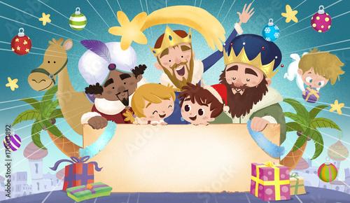 reyes magos y niños con cartel Canvas Print