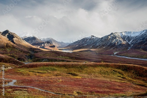 Recess Fitting Deep brown Fall color on the Alaska tundra with snowy mountains