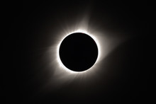 The Sun's Corona Appears Behind The Moon As The Sun Is Totally Eclipsed By The Moon During The 2017 Total Solar Eclipse