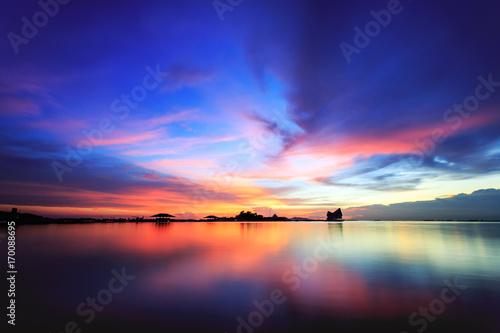 Fotobehang Pier Sky burst at Koh Loy Chonburi Thailand