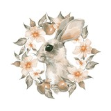 Rabbit and floral wreath. Watercolor illustration - 170092631