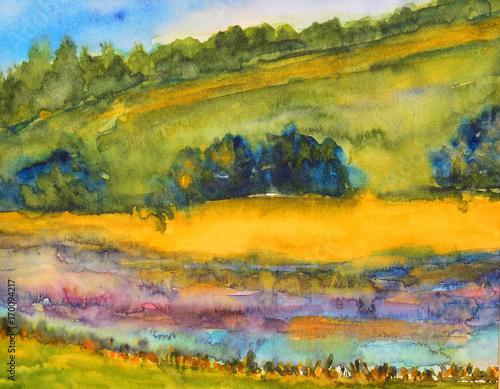 Foto op Aluminium Oranje watercolor painting, landscape