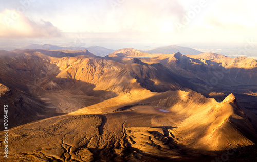 Panoramic view - Sunset in Summit of volcano Mt Ngauruhoe it was Mordor Tower - Lord of The Rings trilogy movies, , Tongariro Northern Circuit, Great walk in New Zealand Wallpaper Mural