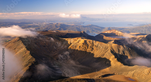 Panoramic view - Sunset in Summit of volcano Mt Ngauruhoe it was Mordor Tower - Lord of The Rings trilogy movies, , Tongariro Northern Circuit, Great walk in New Zealand фототапет