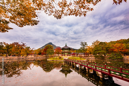Beautiful autumn leaves of Hyangwonjeong Pavilion in Gyeongbokgung Poster