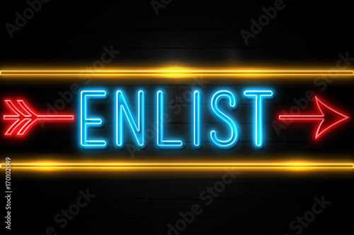 Photo  Enlist  - fluorescent Neon Sign on brickwall Front view