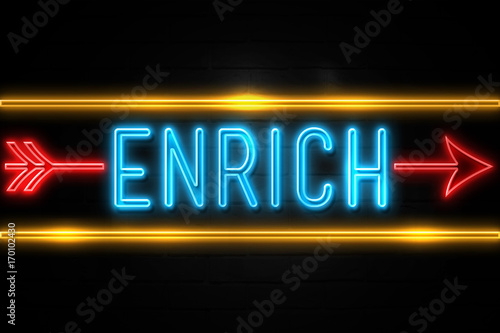 Valokuva  Enrich  - fluorescent Neon Sign on brickwall Front view