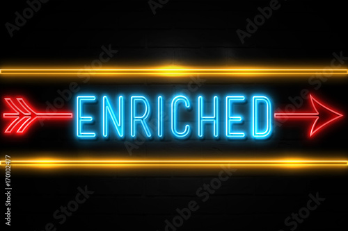 Enriched  - fluorescent Neon Sign on brickwall Front view Canvas Print