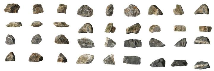 Group Set Stones isolated on white background