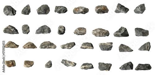Obraz Group Set Stones isolated on white background - fototapety do salonu