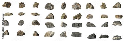 Grupa setu kamienie odizolowywający na białym tle