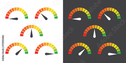 Fotografie, Obraz  Meter signs infographic gauge element from red to green vector illustration