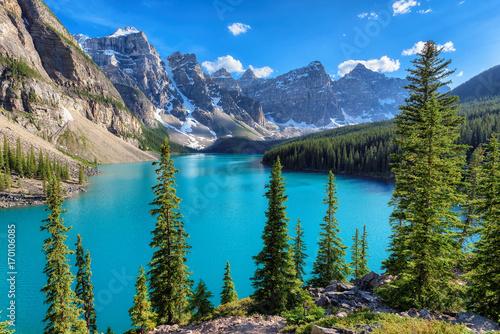 Foto op Canvas Canada Beautiful Moraine Lake in Banff National Park, Alberta, Canada
