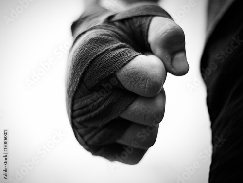 beautiful black and white image of a male fist in boxing bandages Tapéta, Fotótapéta