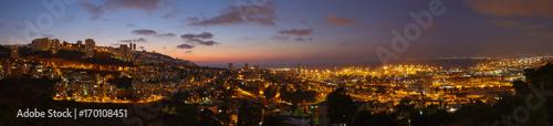 Fotobehang Midden Oosten Haifa city, night view aerial panorama landscape photo.