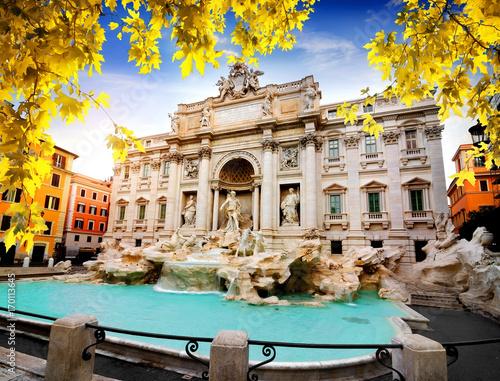 Autocollant pour porte Fontaine Fountain di Trevi in autumn