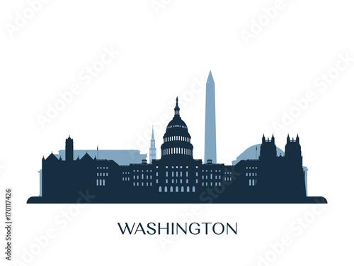 Cuadros en Lienzo  Washington skyline, monochrome silhouette. Vector illustration.