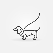 Dog On A Leash Concept Icon