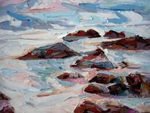 Sea Crashing Foam Rocks Oil Painting Texture Closeup.