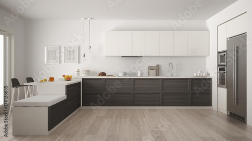 Classic modern kitchen with wooden details and parquet floor minimalist white and gray interior design & Classic modern kitchen with wooden details and parquet floor ...
