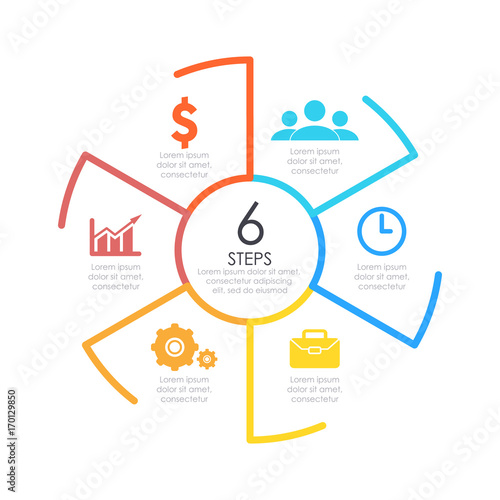 Outline Round Infographic Element Circle Template 6 Steps Or Options