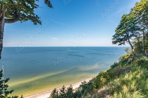 Sandy beach and cliffs on Baltic sea coast, Poland, Wolin island