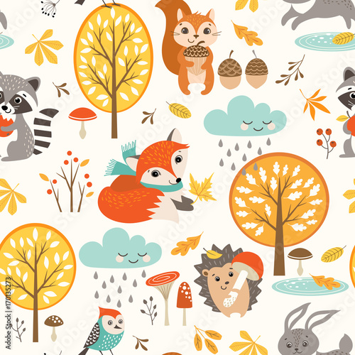 Obraz na plátně  Autumn seamless pattern with cute woodland animals, trees, rainy clouds, mushrooms and leaves