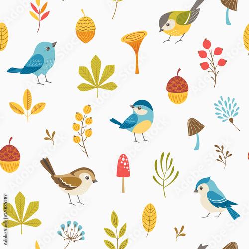 Jesień kwiatowy wzór z małe ptaki, liście, jagody, grzyby i żołędzie.