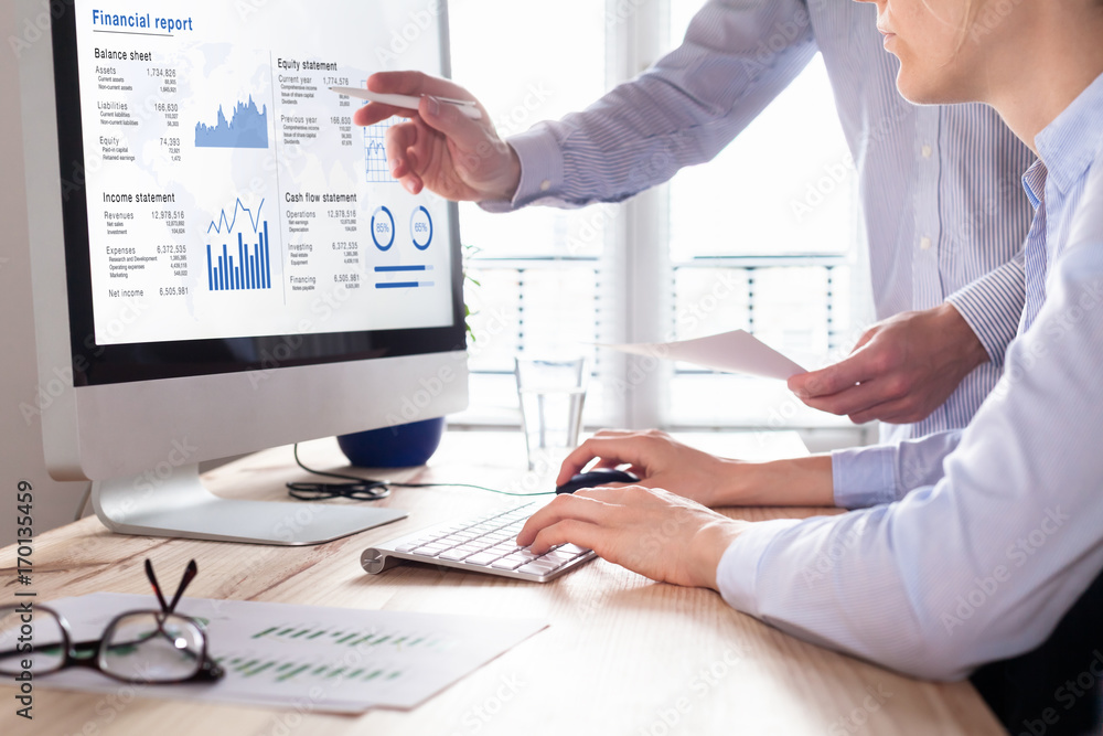 Fototapeta Consulting auditors auditing financial report on computer screen, business charts